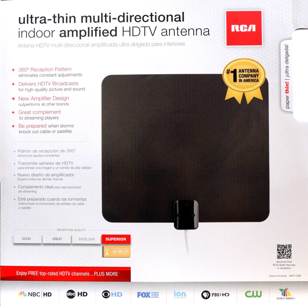 RCA Ultra-thin Multi-directional Indoor Amplified HDTV Antenna