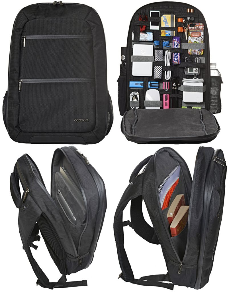 This slim backpack can hold a 17″ laptop