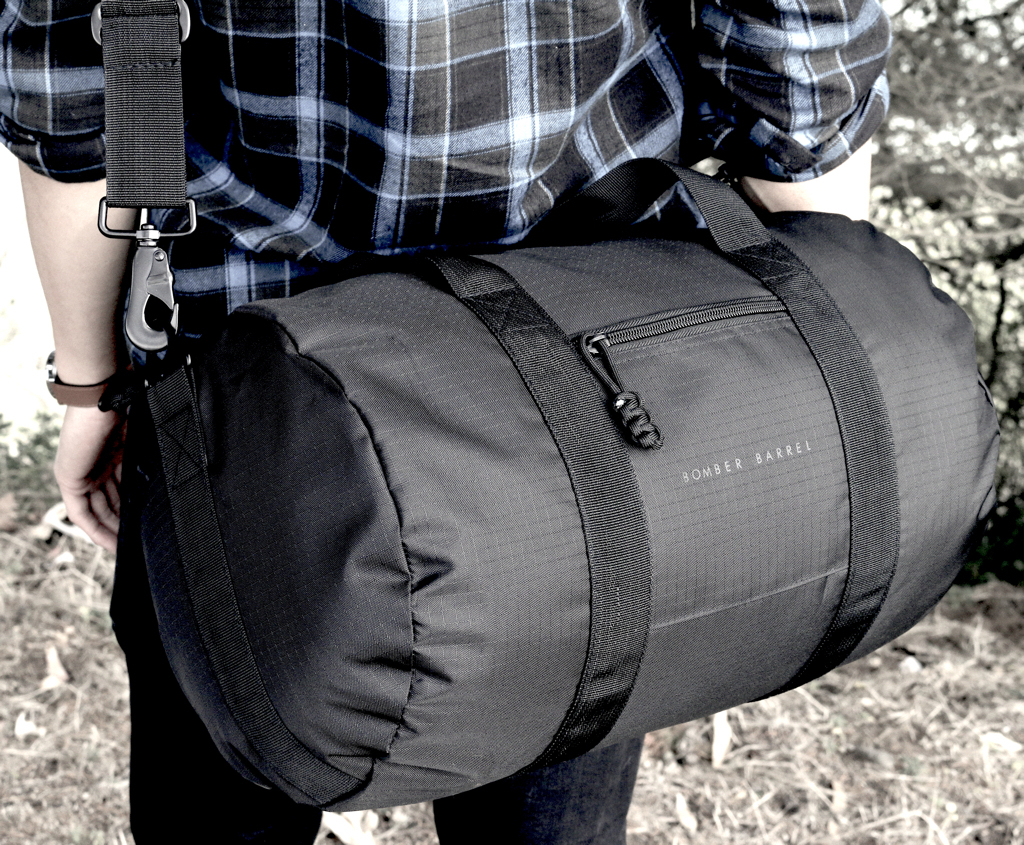 bomber barrel is a durable functional minimal duffel bag