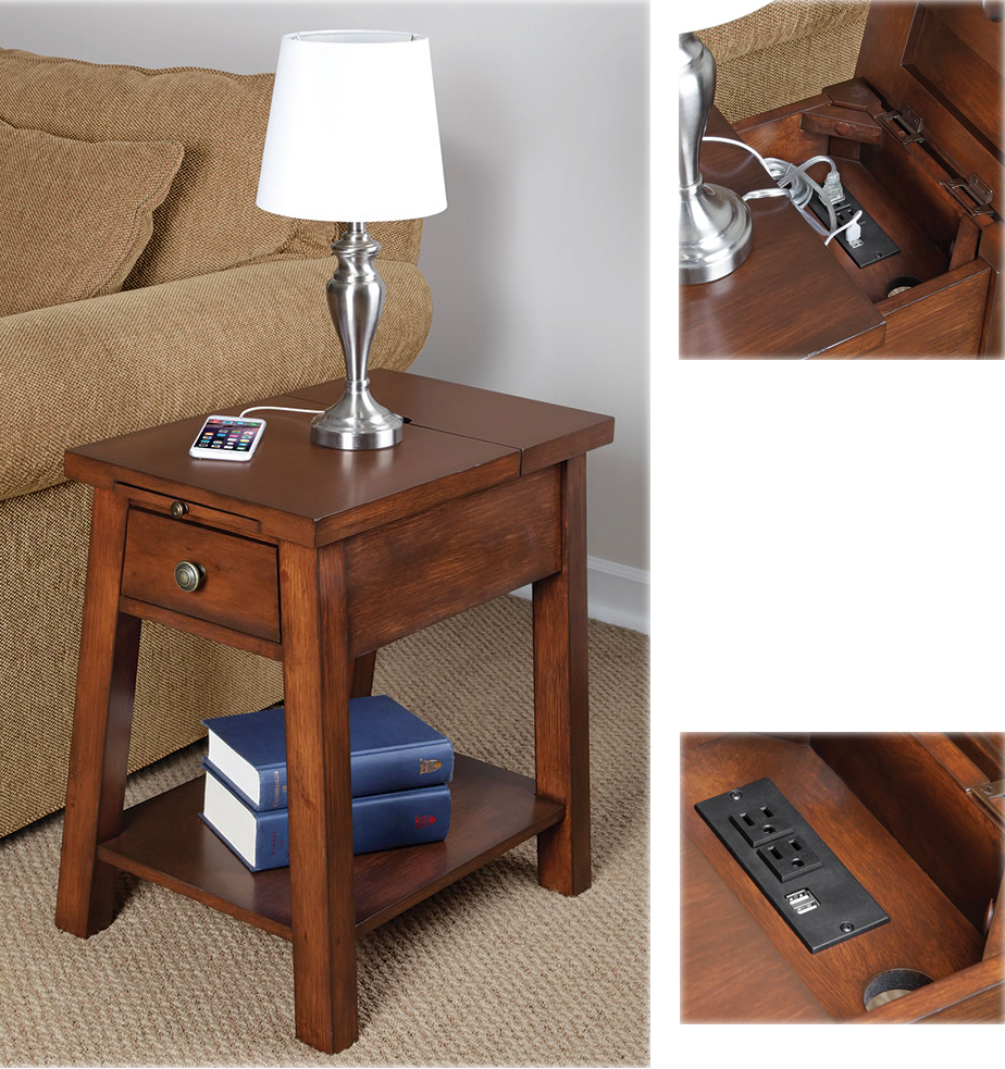Vintage device charging end table