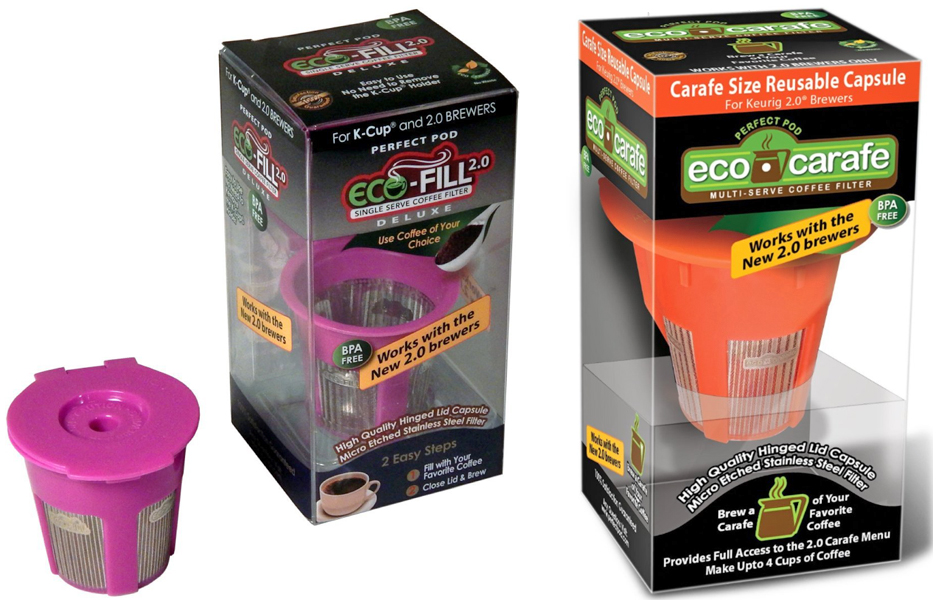Perfect Pod Eco-Fill 2.0 Deluxe and Eco-Carafe for Keurig 2.0 reusable coffee capsules review ...