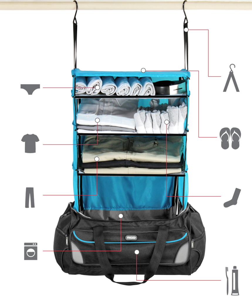 752770e629 This travel bag has a shelving system that organizes your clothes ...