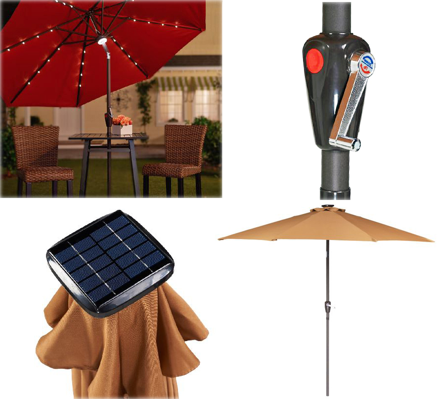 atleasure solar lighted umbrella 1. Black Bedroom Furniture Sets. Home Design Ideas