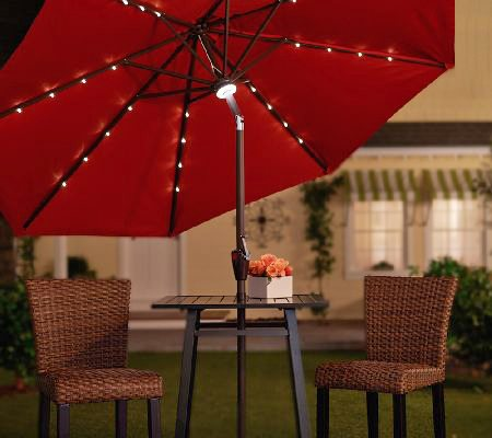 light up the night with this solar patio umbrella. Black Bedroom Furniture Sets. Home Design Ideas