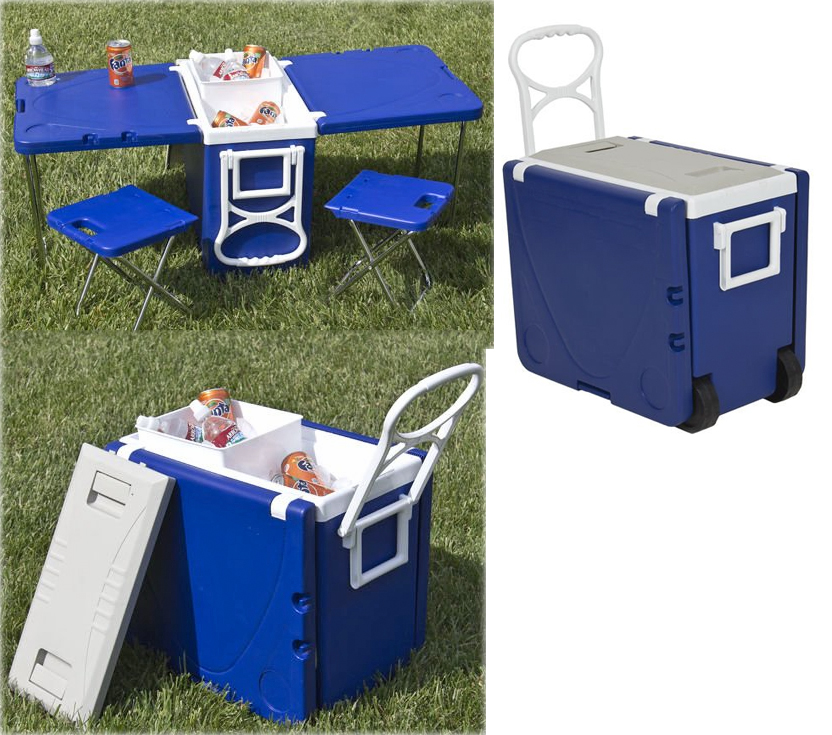 Carry your picnic plus a picnic table in this rolling Picnic table with cooler plans