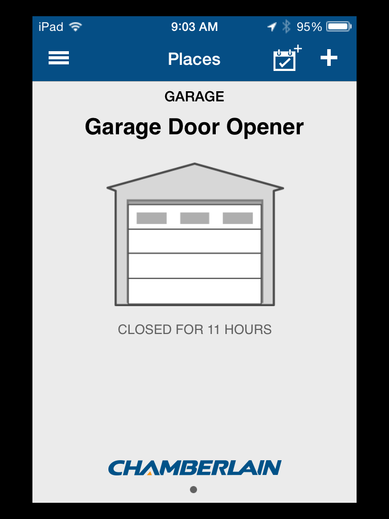 Chamberlain myq garage universal smartphone garage door controller when using the app you are presented the home screen which depicts the position of your garage door by tapping on the icon of the door it will either rubansaba