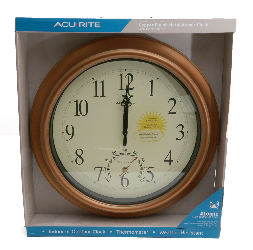 acurite 18inch atomic metal copper outdoor clock with thermometer review