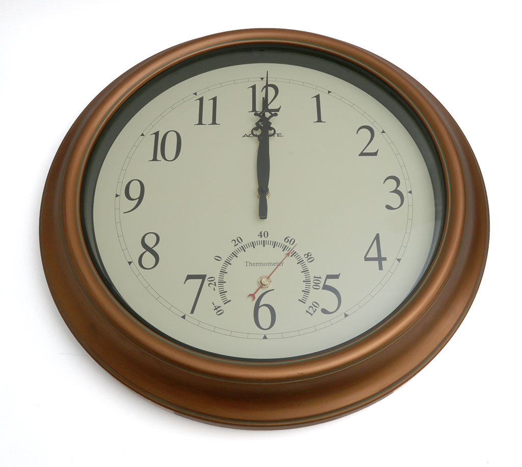 3ce0317f2c7 acurite-clock-2. The AcuRite 18-inch Atomic Metal Copper Outdoor Clock with  Thermometer ...