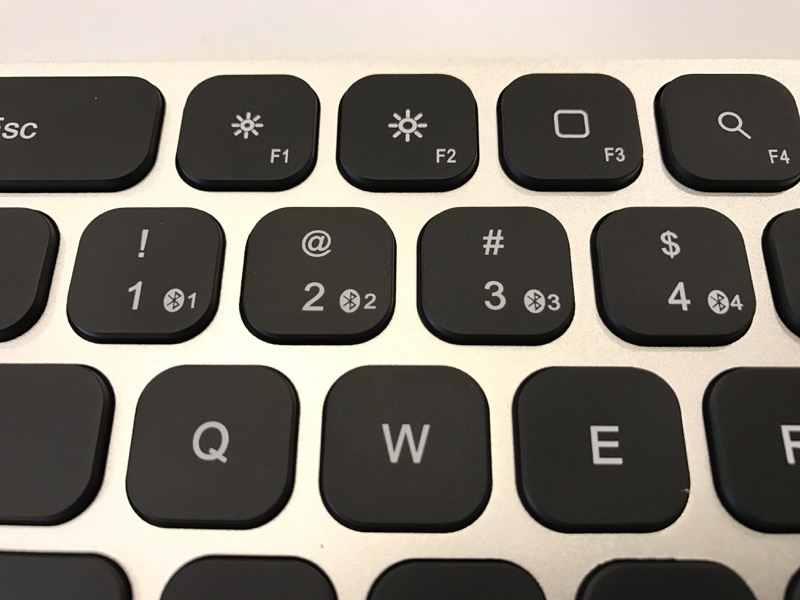 f7ee82279e1 The MultiSync Premium Slim Keyboard can pair up to four Bluetooth devices.  If you're a Mac user and you dislike the standard white keycaps, rejoice!