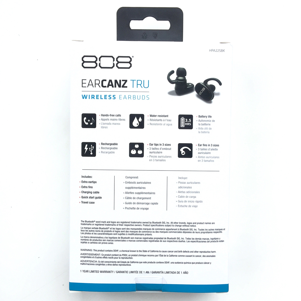 0ca4f98b70f The 808 Audio Earcanz TRU Wireless Earbuds arrived in fairly standard  packaging, namely a light cardboard outer box. The front of the box  included an image ...