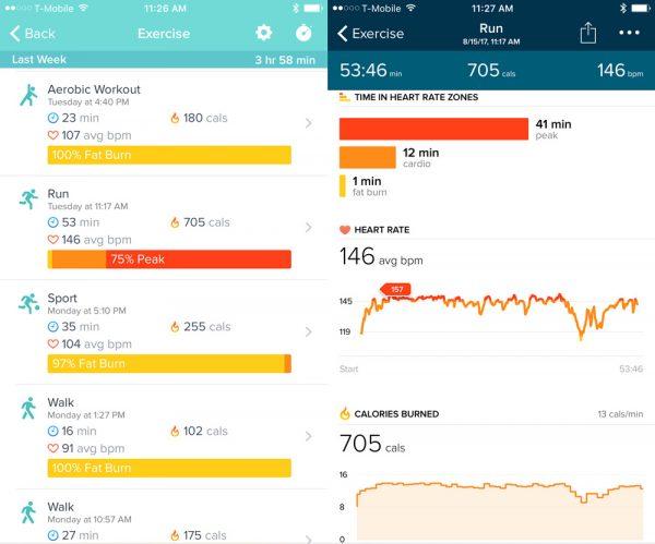 fitbit altaHR exercisedata