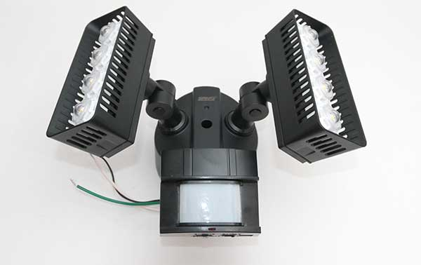 the sansi has a swivel motion sensor in the center with two banks of lights on either side - Motion Sensor Outdoor Light