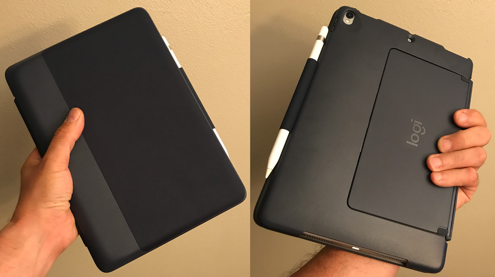 2ee69dbece1 In portrait mode, the stand holds iPad Pro at 73 degrees. The iPad Pro auto  turns on/off when the keyboard is opened or closed.