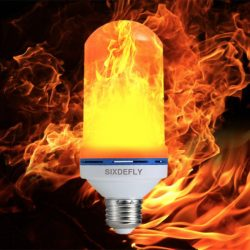 This LED bulb simulates a flame to turn any light fixture into a gaslight fixture