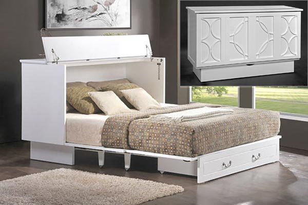 this murphy bed folds down into a console instead of