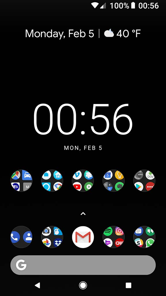 I'm a minimalist when it comes to my tech, so solid black wallpaper and all apps on one screen ...