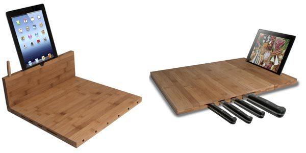 bamboo cutting board ipad stand