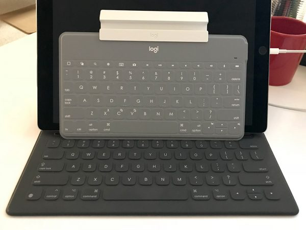 Logitech keyboard on top of iPad Keyboard