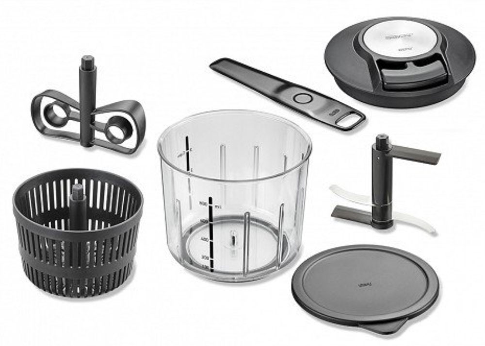 Mighty, mini, manual food chopper/spinner saves room in your