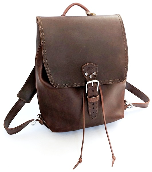 f454f8228 The Saddleback Leather Drawstring Leather Backpack is beautiful in its  design simplicity. There are no outer pockets, just a front buckle closure  and the ...