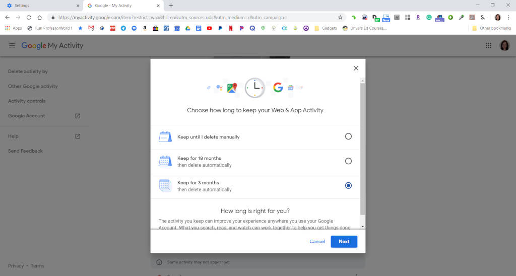 How to automatically delete Google's Web & App Activity data