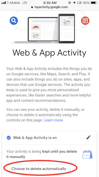 How to automatically delete Google's Web & App Activity data – The